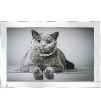 "Mirror framed ""Diamante Cat"" Wall Art"