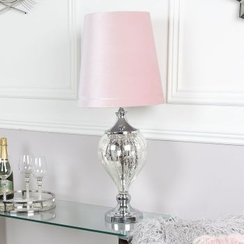 regency medium chrome lamp with pink shade