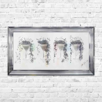 Jake Johnson 3D Martini Cups wall art on a Silver mirror with multiple framing options
