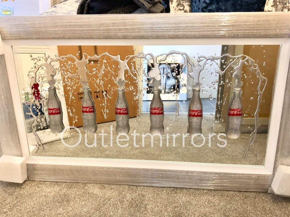 3d Coke Bottle Art in a Silver Pebble Frame 140cm x 90cm