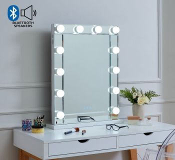 Desktop Hollywood Mirror in Silver with Bluetooth Speaker 80cm x 60cm