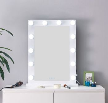 Desktop Hollywood Mirror in White 80cm x 60cm