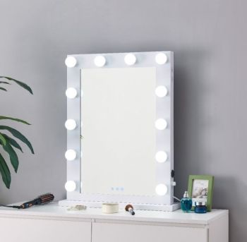 Desktop Hollywood Mirror in White with Bluetooth Speaker 80cm x 60cm