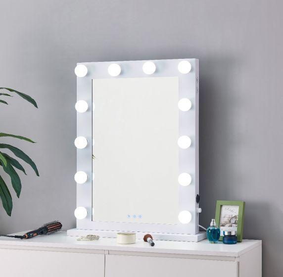 Desktop Hollywood Mirror IN White with Bluetooth Speaker 80cm x 60cm
