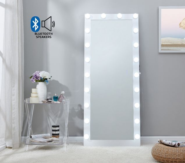 Hollywood Mirror in White with Bluetooth speaker and usb port 170cm x 70cm