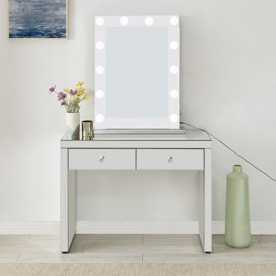 Hollywood Glass Console & Desktop Mirror with Bluetooth Speaker