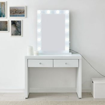Hollywood Glass Console & Desktop Mirror in White with Bluetooth Speaker