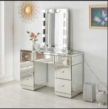 Hollywood Glass Dresser & Desktop Mirror with Bluetooth Speaker