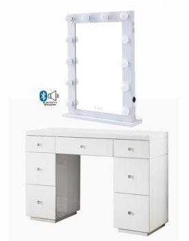 Hollywood Glass Dresser & Desktop Mirror in White with Bluetooth Speaker