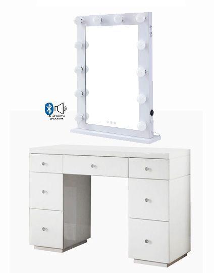 Hollywood Glass Dresser & Desktop Mirror in White with Bluetooth Speaker