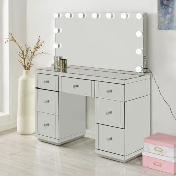 Hollywood Glass Dresser & Large Desktop Mirror with Bluetooth Speaker