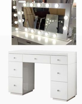 Hollywood Glass Dresser & Large Desktop Mirror in White with Bluetooth Speaker