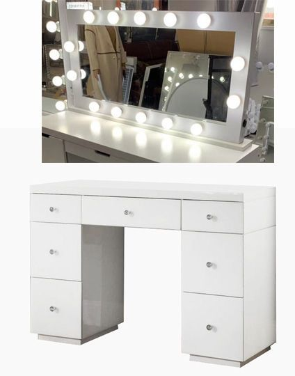 Hollywood Glass Dresser & Large Desktop Mirror in White with Bluetooth Spea