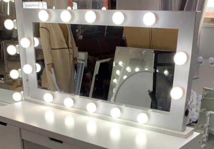 Tabletop Hollywood Mirror-White with Bluetooth Speaker