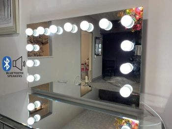 Large Hollywood Mirror in Silver with Bluetooth Speaker
