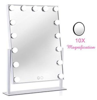Hollywood Vanity Makeup Mirror-White 10x Magnification 50cm X 40cm