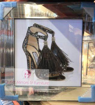 """Glitter Sparkle London Shoe"" Black in mirror frame"