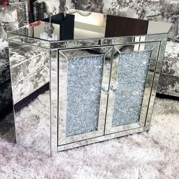 * Diamond Crush Sparkle Mirrored Corner TV Entertainment Unit