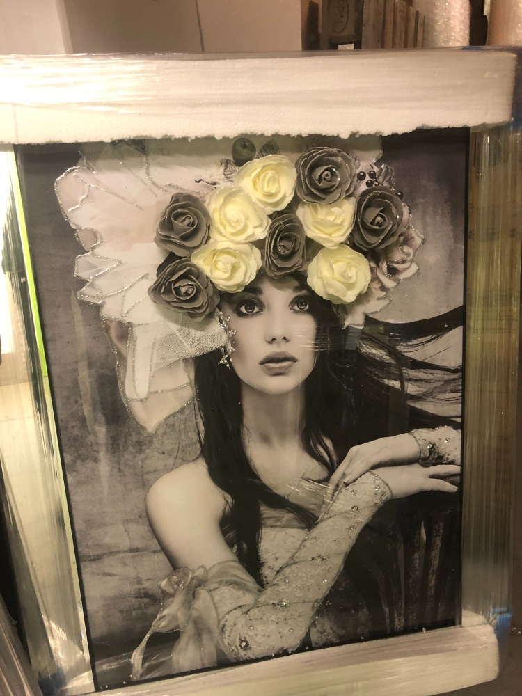 Media Art Glamour Lady Rose Hat Sparkle Art in a mirrored frame