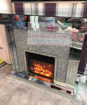 * Diamond Crush Sparkle Mirrored fire surround with electric fire