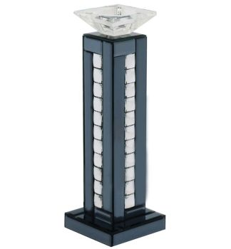 Crystal border Smoked Mirrored Candle holder
