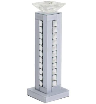 Crystal border White Mirrored Candle holder