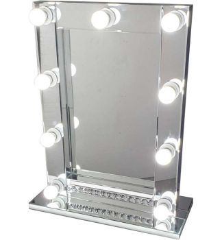 Silver Free standing Hollywood Crystal broder Mirror 70cm x 50cm