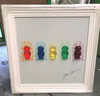 Jake Johnson 3D colourful Jelly Babies wall art on a white gloss background white stepped frame in stock