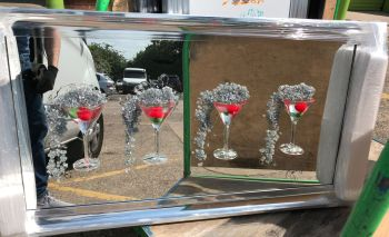 Jake Johnson 3D Strawberry Martini's wall art on a Silver mirror backing Chrome scoop frame