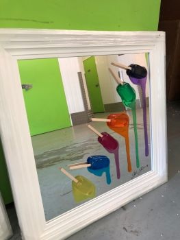 Jake Johnson 3D colourful falling Ice Lollies (b) wall art on a Mirror  background in a White stepped frame