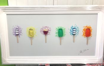 Jake Johnson 3D colourful Ice Pops wall art on a white gloss background white stepped frame In stock