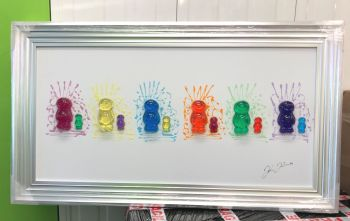 3D colourful Jelly Babies wall art on a white gloss background Steel silver stepped frame