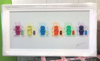 3D colourful Jelly Babies wall art on a white gloss background white stepped frame
