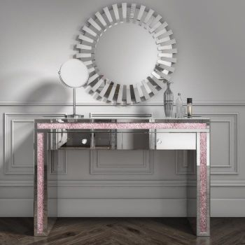 Crush Sparkle Pink 2 Draw Dressing Table / Console Table  120cm x 40cm x 80cm