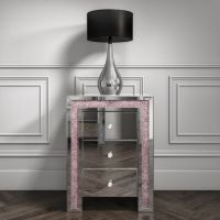 Crush Sparkle Pink 3 draw Bedside chest  51cm x 35cm x 69cm