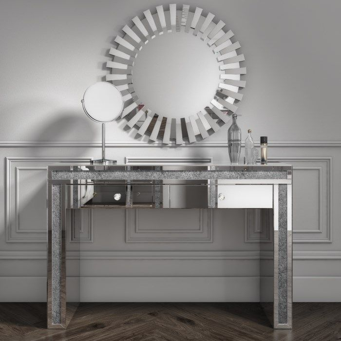 Crush Sparkle Silver 2 Draw Dressing Table / Console Table  120cm x 40cm x