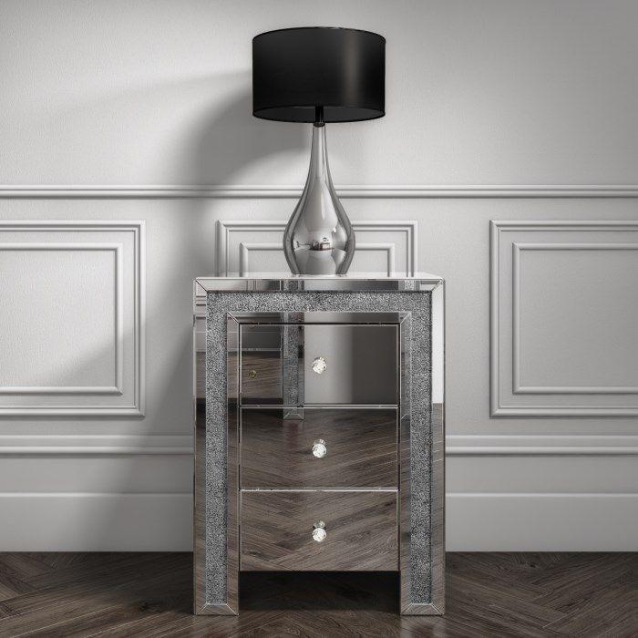 Crush Sparkle Silver 3 draw Bedside chest  51cm x 35cm x 69cm