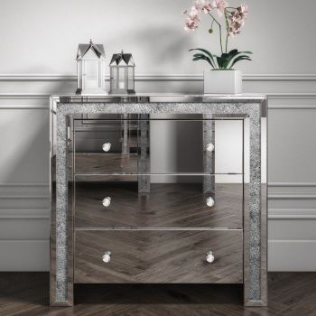 Crush Sparkle Silver 3 draw Large chest w 85cm x d 40cm x h 82cm