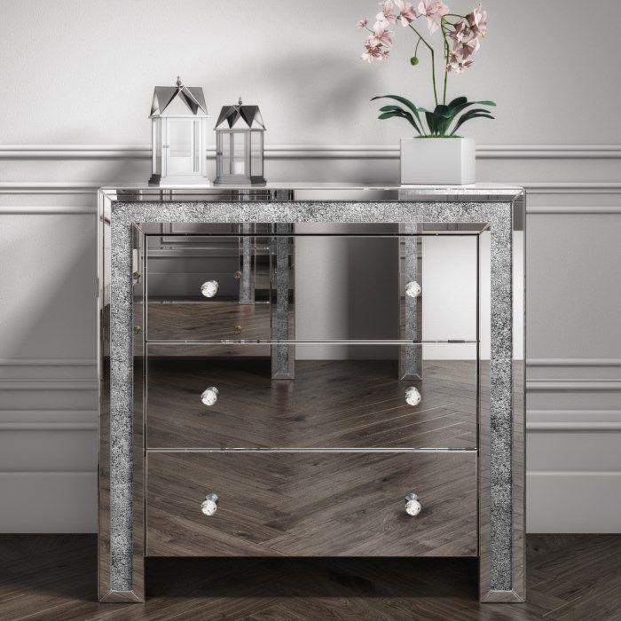 Crush Sparkle Silver 3 draw Large chest w 85cm x d 40cm x h 82cm