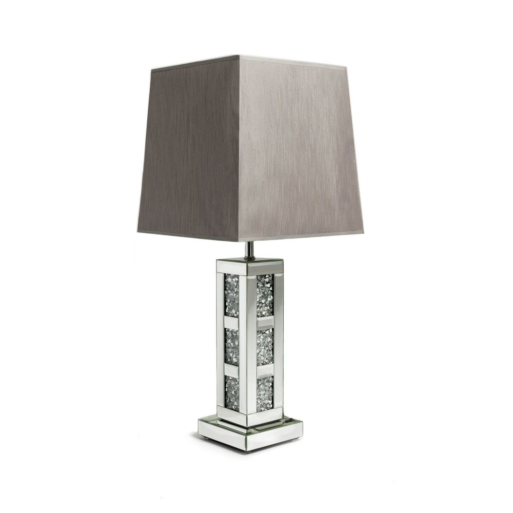 *Diamond Crush Crystal Blocks Mirrored Lamp with shade in stock