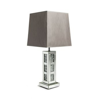 *Diamond Crush Crystal Blocks Mirrored Lamp with shade in stock