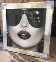 Media Art louis Vuitton Lips Mirror Framed sparkle Art 85cm x 85cm