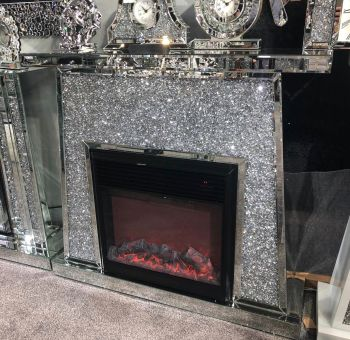 *New Madison Diamond Crush Sparkle Mirrored fire surround with electric fire