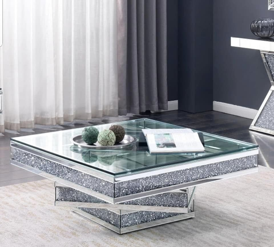* New Diamond Crush Sparkle Crystal Mirrored Twist Square Coffee Table -in