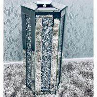 * New Diamond Crush Sparkle Crystal Mirrored Hex Vase instock