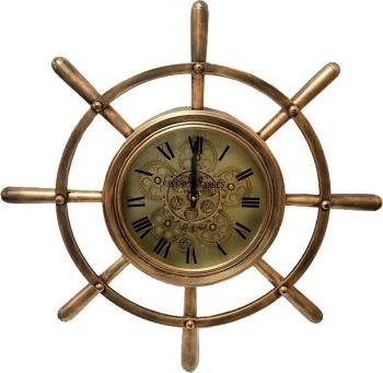 Brass Sailors Wheel Skeleton Clock 67cm