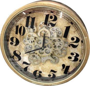 Vintage Brass Effect Skeleton Wall Clock - 46cm