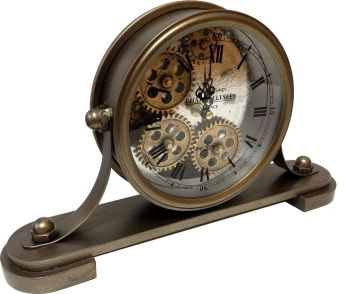 Silver Skeleton Mantle Clock - 35cm