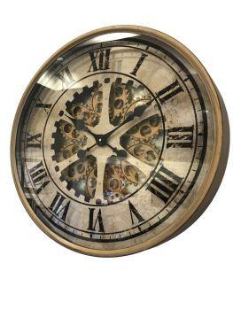 White & Brass Skeleton Wall Clock - 60cm
