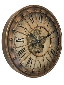 Brass Barrel Top Skeleton Wall Clock - 60cm